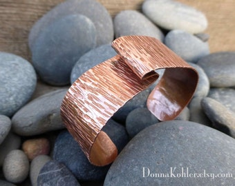 Copper Cuff Bracelet Hand Formed Sleek Simple Lines Hammer Texture Copper Bracelet