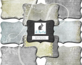 Shabby Fabric Frames Clipart Set #5 -Chartreuse & Grey Scrapbook Instant Download Embellishment Label Elements - CU- 8 Separate PNG Files