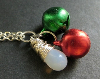 Christmas Bells Necklace. Holiday Necklace. Christmas Necklace in Red and Green. Silver Necklace. Handmade Jewelry.