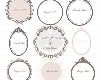 Retro Frames Clipart,flourish digital frames, vintage frames,digital download