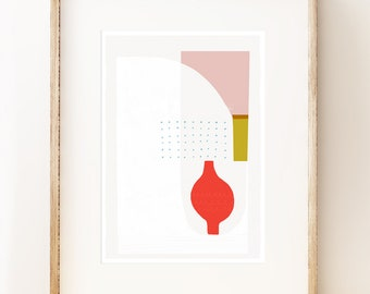 Abstract art print 'Red Vase'. Modern art print, gallery wall art, graphic art print, living room art, art under 50, wall decor