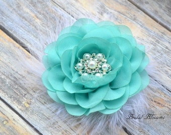 Aqua Chiffon Flower Hair Clip | Vintage Inspired Bridal Hair Piece | Fascinator | Girl Feathers Pearl Rhinestone | White Feathers Turquoise