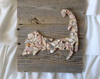 CapeCod Art, Cape Cod Map Art, Seashell Art, Coastal Cape Cod Art, Wood Map Signs, Wood State Signs