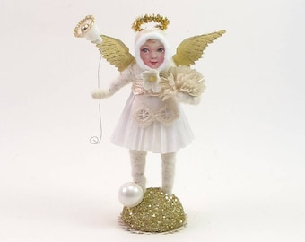 Vintage Inspired Spun Cotton Golden Angel Figure (MADE TO ORDER)