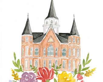 Provo City Center Utah LDS Temple Watercolor