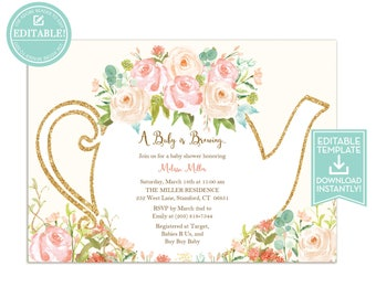 Rustic bridal shower invitation summer country bridal tea party invitation template floral teapot bridal shower baby shower birthday party filmwisefo Gallery