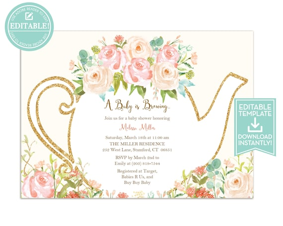 Tea party invitation template floral teapot bridal shower filmwisefo Gallery