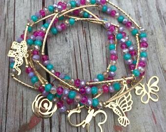 Sensation Combination Bracelet Set with gold plated charms - Pulseras Semanario Combinacion Sensacion con dijes de chapa de oro
