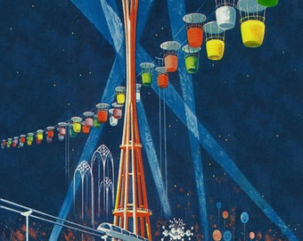 Space Needle Worlds Fair Poster (Art Prints available in multiple sizes)