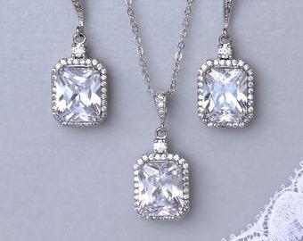 Bridal Jewelry Set, Crystal Bridal Set, Square Bridal Earrings, Silver Wedding Jewelry Set, EMILIA