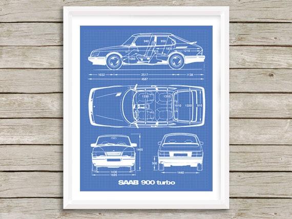 Saab 900 turbo blueprint saab decor blue print art instant malvernweather Gallery