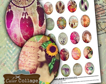 Boho Chic Digital Collage Sheet 30x40mm Oval Cameo Images Hipster Collage Sheet Printable Download for Pendants Bezel Settings Decoupage