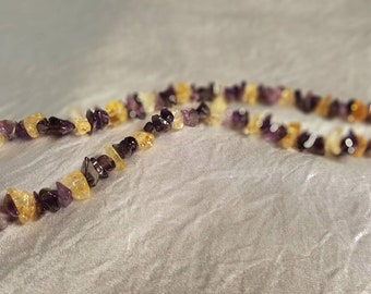 Citrine and Amethyst Chip Necklace