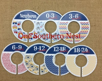 Circus themed Closet Dividers, Baby Shower Gift, Newborn baby gift, Infant, Chile, Toddler, Child, size dividers.