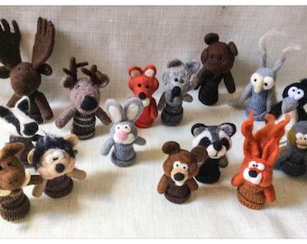 Finger puppets Forest Animals/puppet wool has glove forest animals