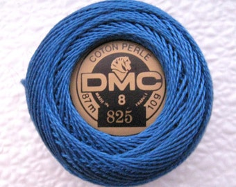 DMC 825 Dark Blue Perle Cotton Thread Ball Size 8