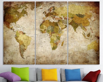 World map wall art etsy world map canvas art world map canvas map canvas world map wall art map on canvas gumiabroncs Image collections