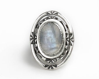 Rainbow Moonstone and Sterling Silver Statement Ring - Blue Flash Rainbow Moonstone - Big Oval Moonstone Ring - Boho Moonstone Jewelry