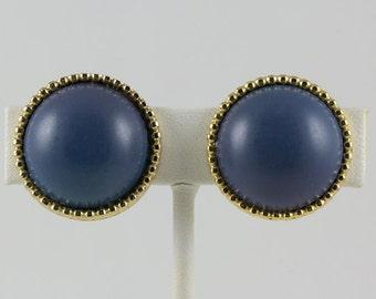 Vintage Ellen D. Clip Earrings Gold bezel with Dark blue round center bead
