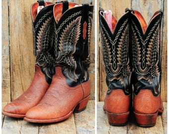 41 Lucchese Boot US 8.5 Lucchese Boot Cognac Western Boot Black Western Boot Two Tone Western Boot Cuban Heel Boot Round Toe Boot 41 western