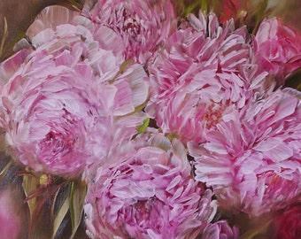 Oil Painting pink peonies