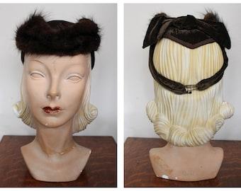 1940s Hat // Fur & Velvet Tilt Hat // vintage 40s hat