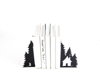 Metal bookends - A Hut in the woods - / Nursery perfect functional decor // housewarming gift // FREE SHIPPING
