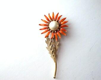"""huge vintage enamel flower brooch . large dandelion pin brooch with rhinestones . 5"""" tall"""