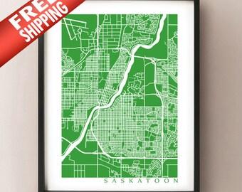 Saskatoon Map Print - Saskatchewan Poster