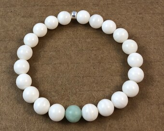 INNER PEACE BRACELET (shell & amazonite)
