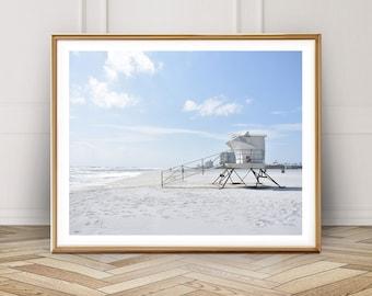 Lifeguard Rescue Station Beach Photograph Print Poster Beach Wall Art Waves Summer Palm Life Guard Decor Fine Art