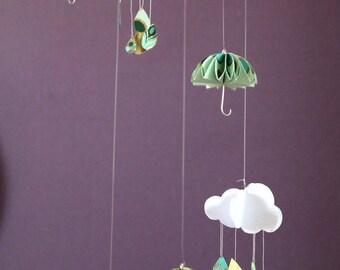 Green umbrellas and cloud paper mobile