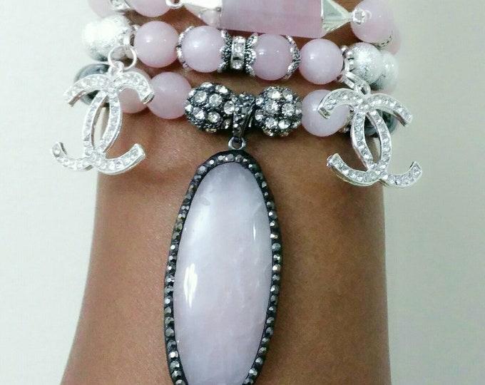 Designer Inspired Ladies Pink Rose Quartz Stone, Silver & Black Hematite Charm Bracelet Stack,set if 3, anniversary gifts, birthday gifts