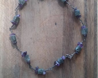 Amethyst and Agate anklet