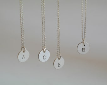 Initial necklace monogram necklace letter necklace initial jewelry initial charm sterling silver necklace disk necklace minimal - amejewels