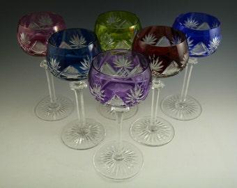 VAL St LAMBERT Crystal - BERNCASTEL Cut - Coloured Hock Glasses - Set of 6