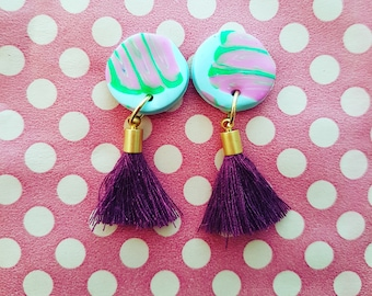 Handmade earrings with tassel