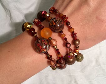 MULTISTRAND bronze/red/orange, varous pearls, Bohemian bracelet.