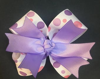 Pink and purple polk a dot Hairbow