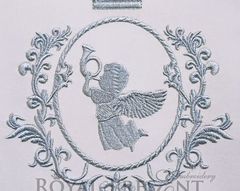 Machine Embroidery Design Blue Monogram Blank - 2 sizes