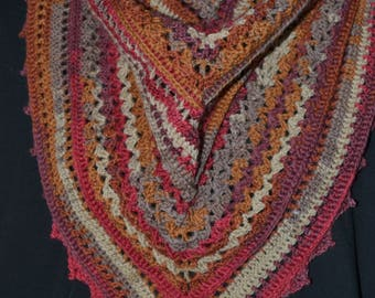 Colorful triangle crochet shawl - hand crochet - autumn colors - shawl wrap - 70% wool