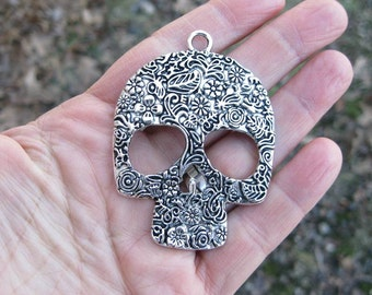 2 Large Sugar Skull Pendants in Silver Tone - C2516