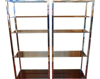Mid Century Modern Chrome and Smoked Glass Shelves - Pair
