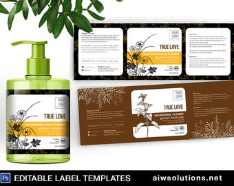 Conditioning Hand Wash label template, editable bath label, hand soap label, Hand wash label template, wild flower hand wash label template