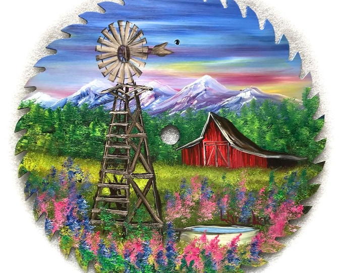 Hand Painted Saw Blade Mountain Red Barn and Windmill 10 1/4 inch Real Saw Blade