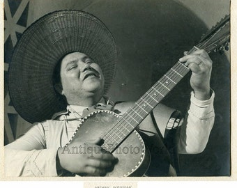Mexico musician with guitar antique photo by N Weisman