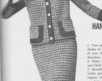 166 PDF Chanel Style Suit knitting Pattern, Ladies Jacket and Skirt Set Pattern, Size 12 14 16, Checked Design, Vintage 1960's, PDF Download