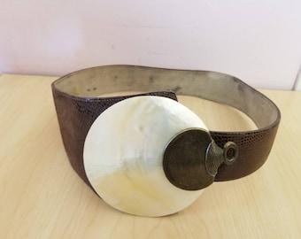 "vintage Leather Pearl womens belt 38"""