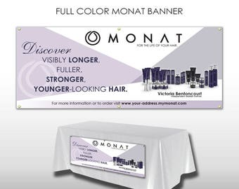 Monat Horizontal Banner with Grommets - White with Purple Design -PRINTED and SHIPPED directly to YOU!