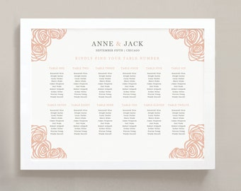 INSTANT DOWNLOAD | Printable Seating Chart Poster Template | Roses | Word or Pages | 18x24 | Editable Artwork Colors